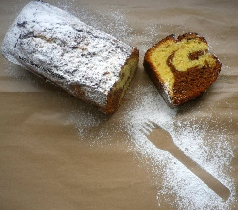 Marbled sour cream pound cake