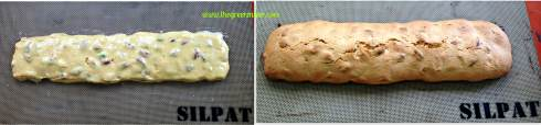 orange pistachio biscotti_before after