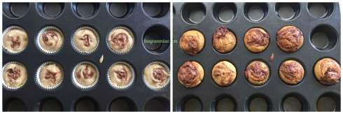 nutella swirl banana muffins collage